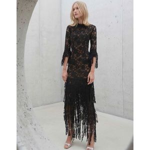Alexis Jade Maxi Gown Black Lace Fringe Dress XS